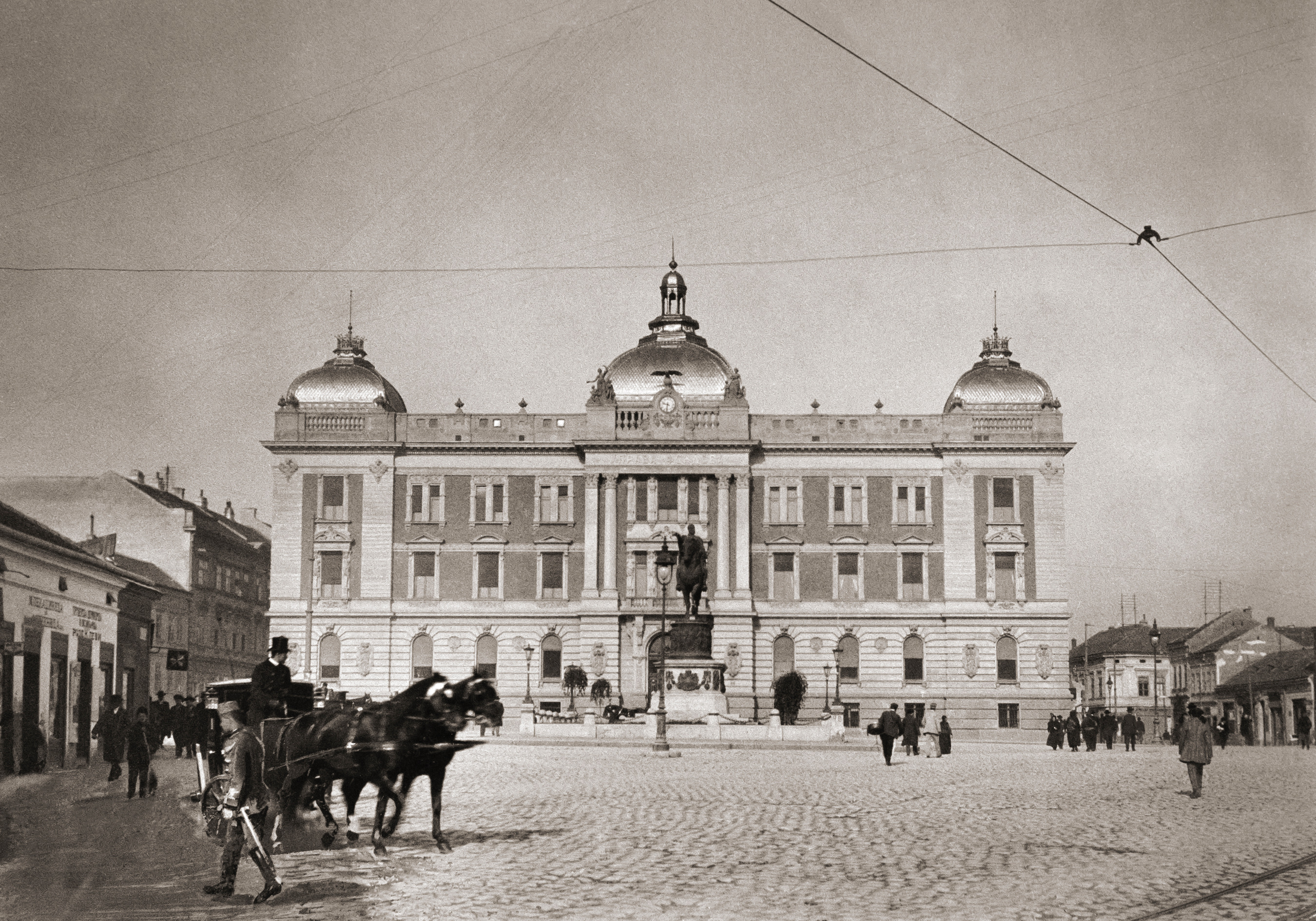"Photo: Anonymous, circa 1910. It was built in 1903 Designed by arch. Andre Stevanović and  arch. Nikola Nestorović. - Framed, glazed, with museum grade matt 20 x 16"" ($140)"